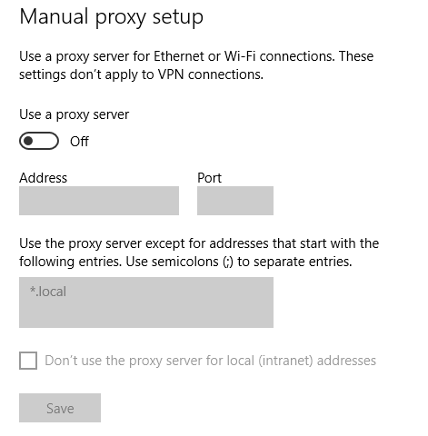 Removing Proxy Microsoft Edge
