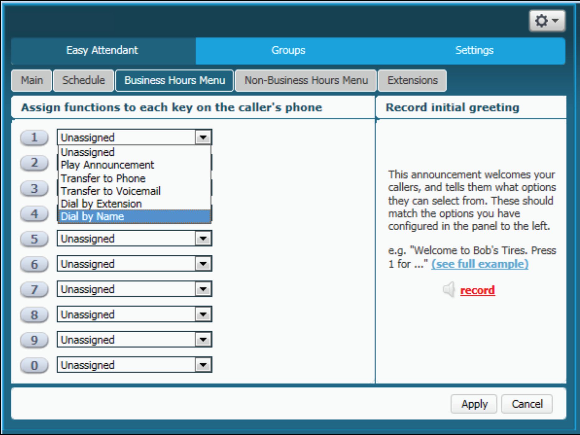 sup AArecordgreeting 1460137324 Voice   How do I record a greeting for Auto Attendant (Easy Attendant)?