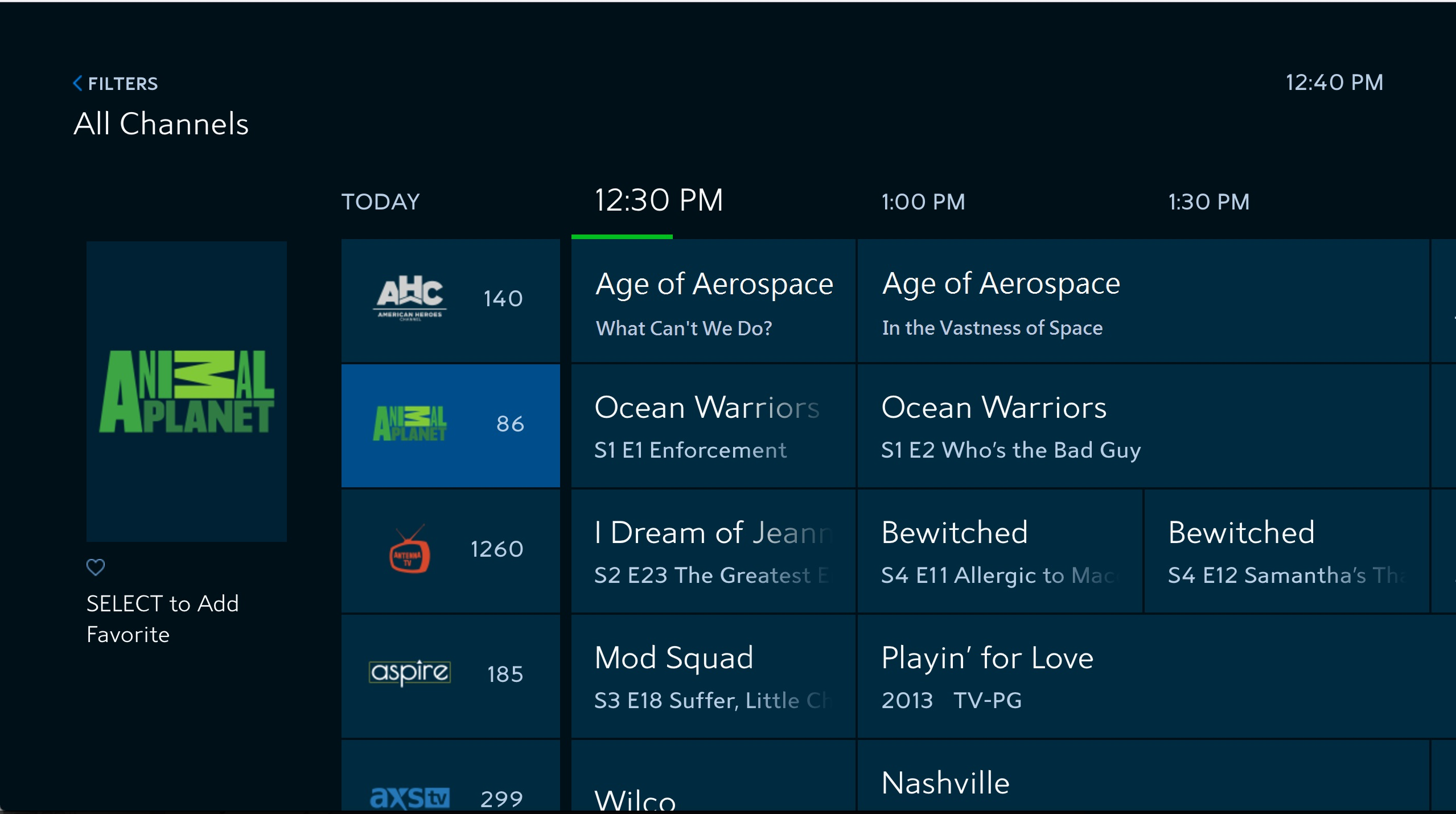 Guide screen of the Spectrum TV app for Samsung Smart TVs