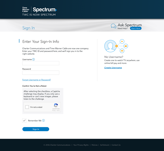 Screenshot of new Spectrum.net Sign In page