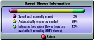 Saved shows information