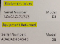Equipment Serial Number