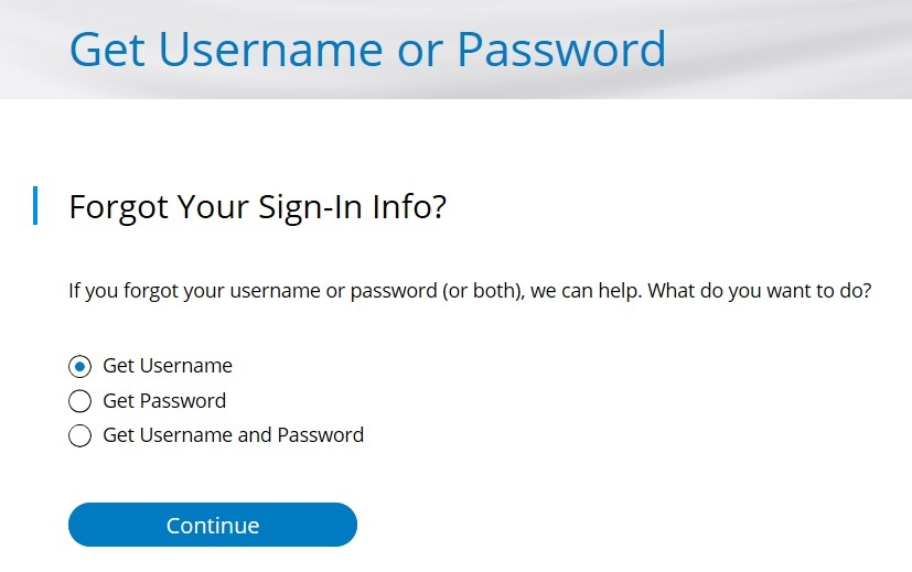 Get Username or Password options