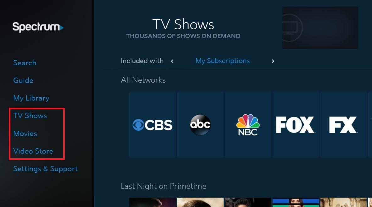 spectrum main menu with on demand menu options highlighted