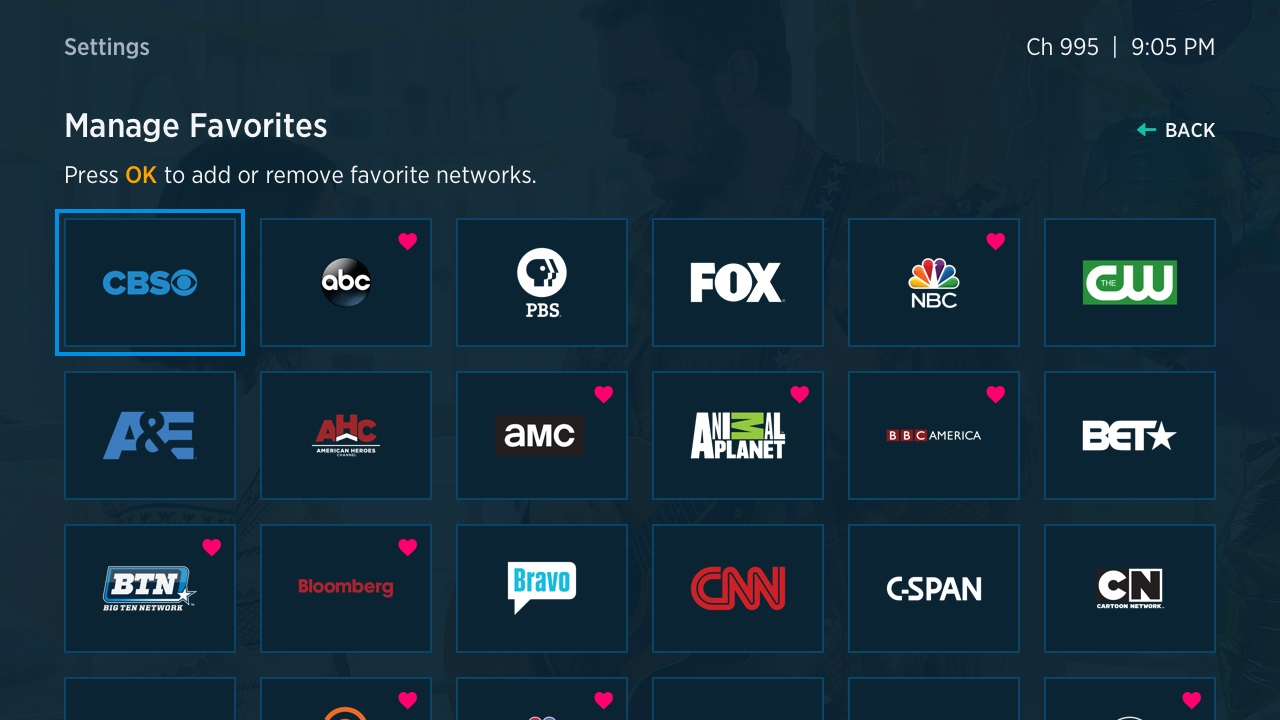 manage favorites in the spectrum tv app for roku