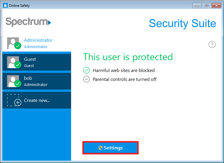 Spectrum Security Suite User Settings