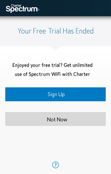 Spectrum Wifi Free Trial Ended Screenshot