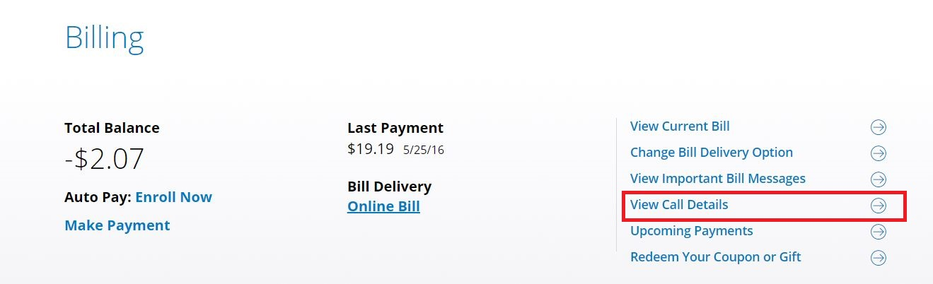 view call details from billing section