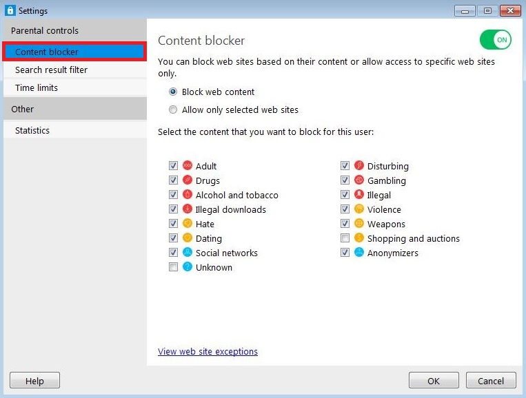 Content Blocker options for Windows