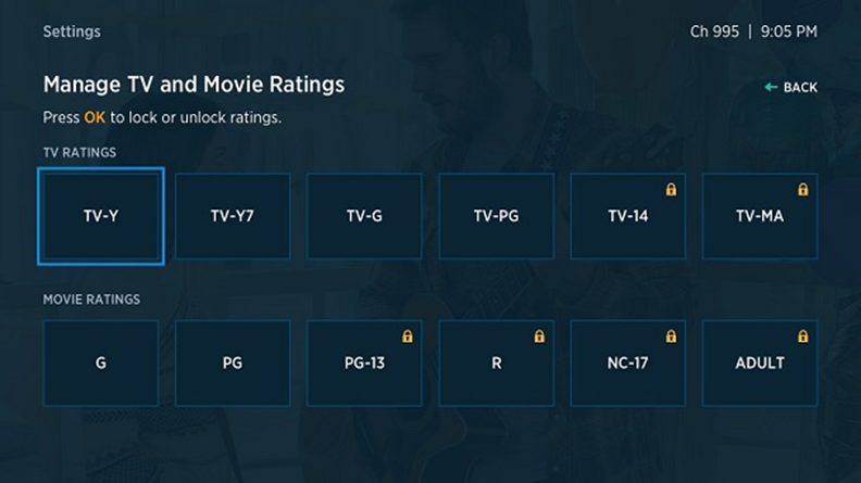 Spectrum TV app for Roku displaying TV and Movie ratings to manage.