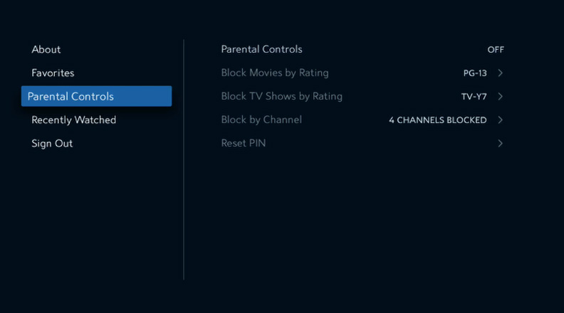 Spectrum TV app on Apple TV displaying Parental Controls.