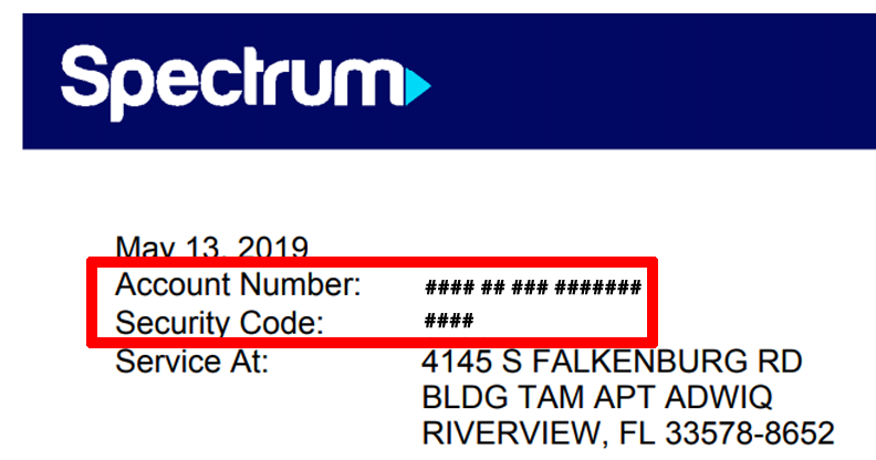 Finding Your Account Number and Security Code | Spectrum Support
