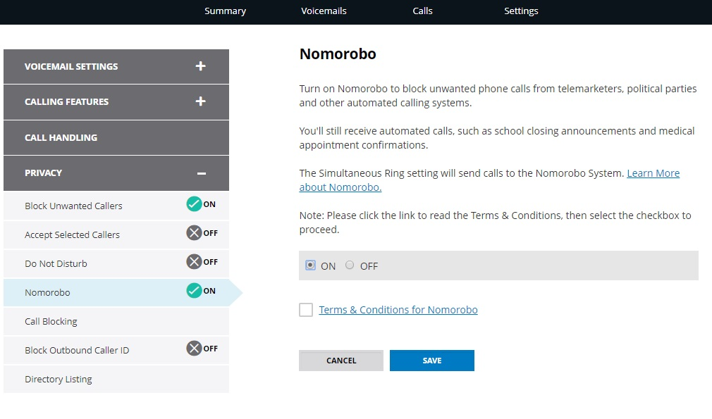 nomorobo settings in voice online manager