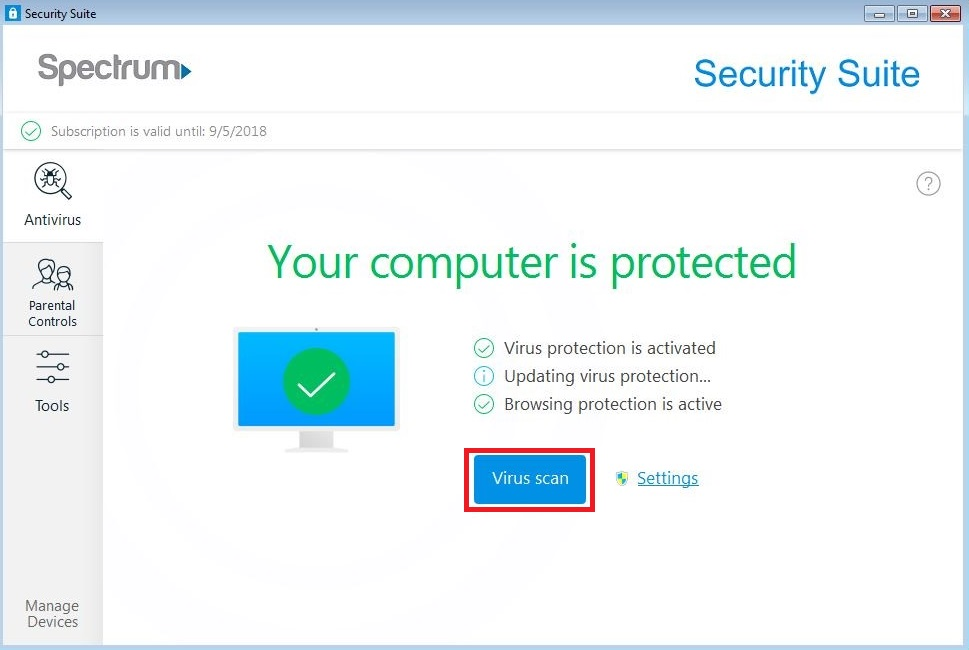 Security Suite for Windows: Scanning Options | Spectrum Support