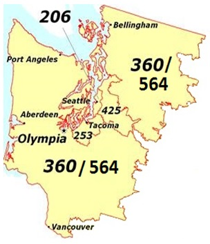 Washington area code boundaries and area code assignments