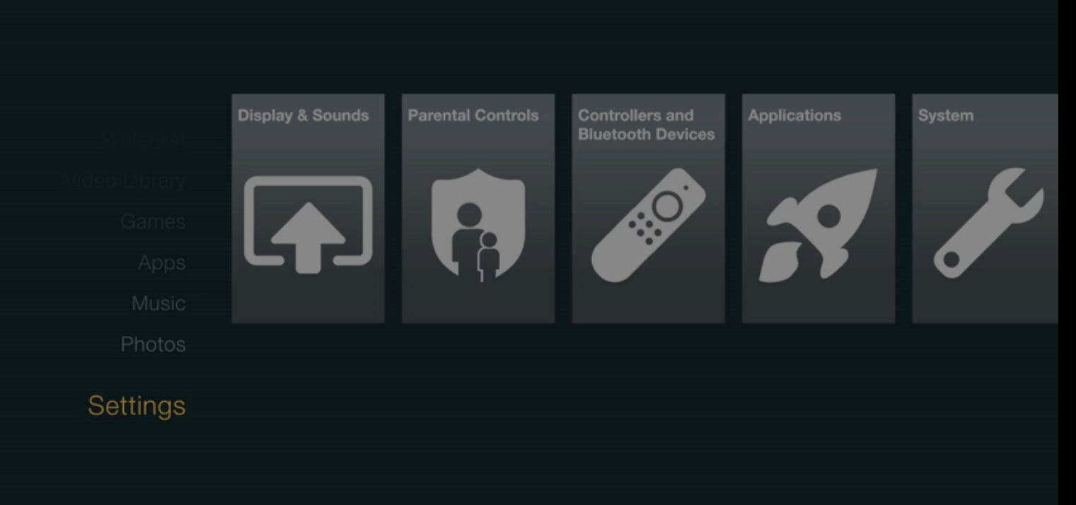Fire TV Settings Page
