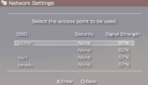 Select Access Point Menu