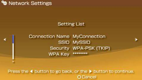 Proper settings example screen