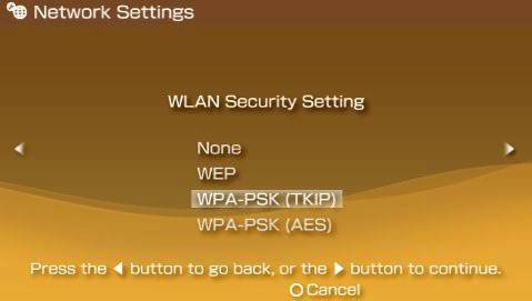 Select Security Type Menu