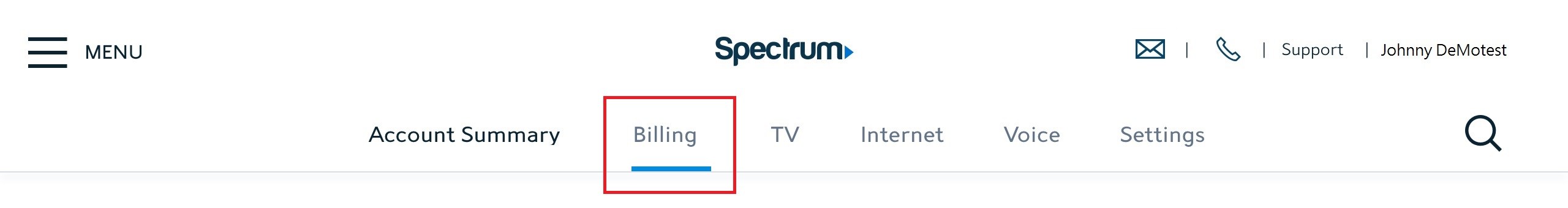 billing option in the Spectrum.new header
