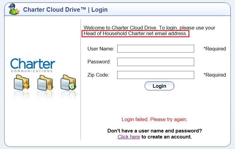 Spectrum Cloud Drive Log In Failed