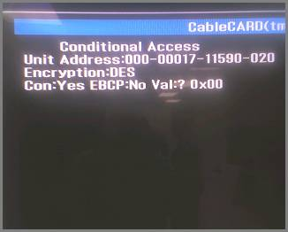CableCARD Access screen