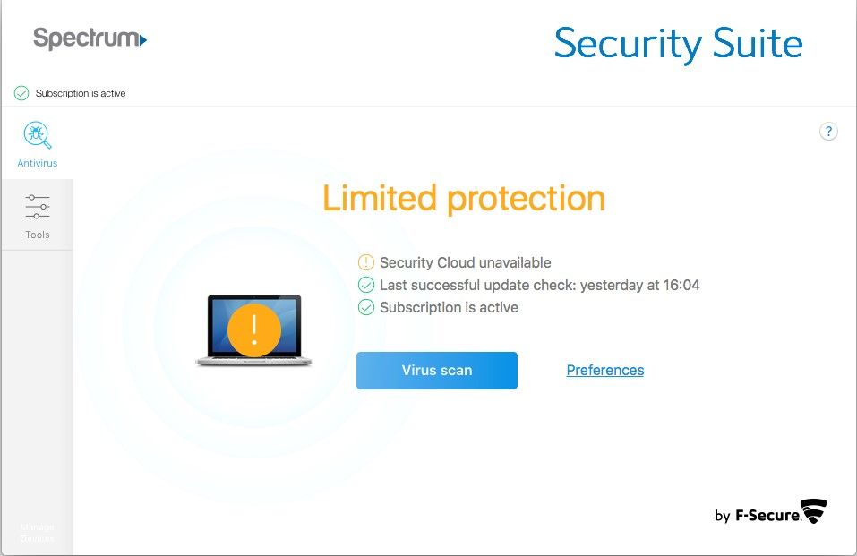 limited protection warning on the status page when opening the Security Suite software