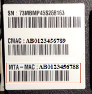 MAC ID Voice/Converged Enabled Modem sticker