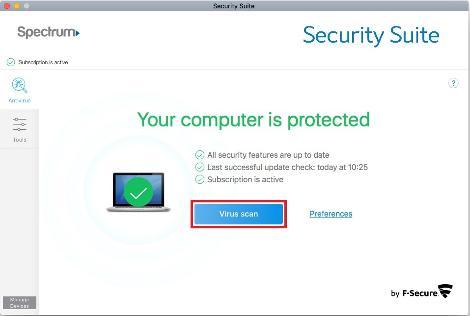 Security Suite manual virus scan option for Mac