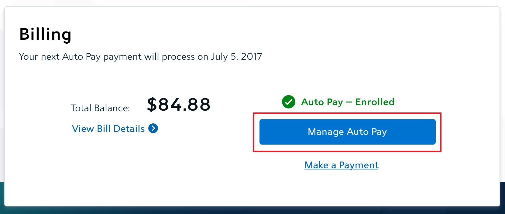 manage auto pay button on account summary page under billing section