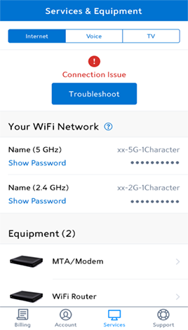 My Spectrum app displaying a Connection Issue alert message