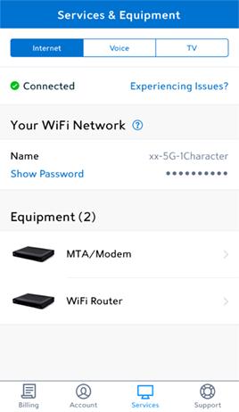 My Spectrum app Services screen