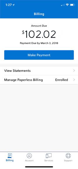 My Spectrum app Billing screen