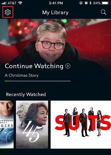 Settings options in the Spectrum TV app