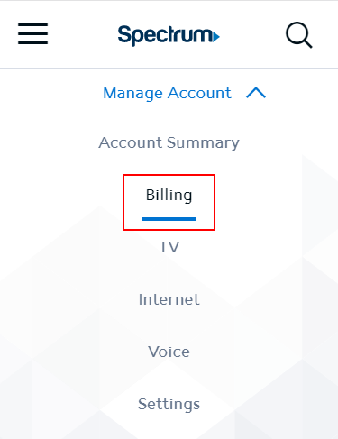 Billing tab in header of account summary, in mobile view