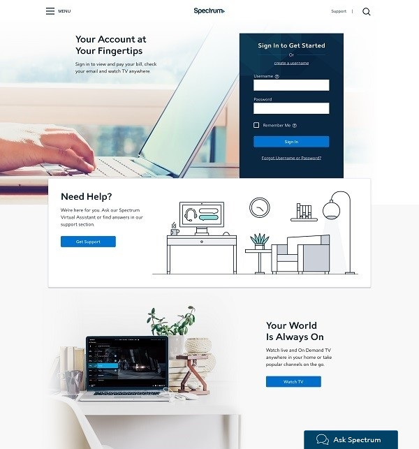 layout of new Spectrum.net homepage