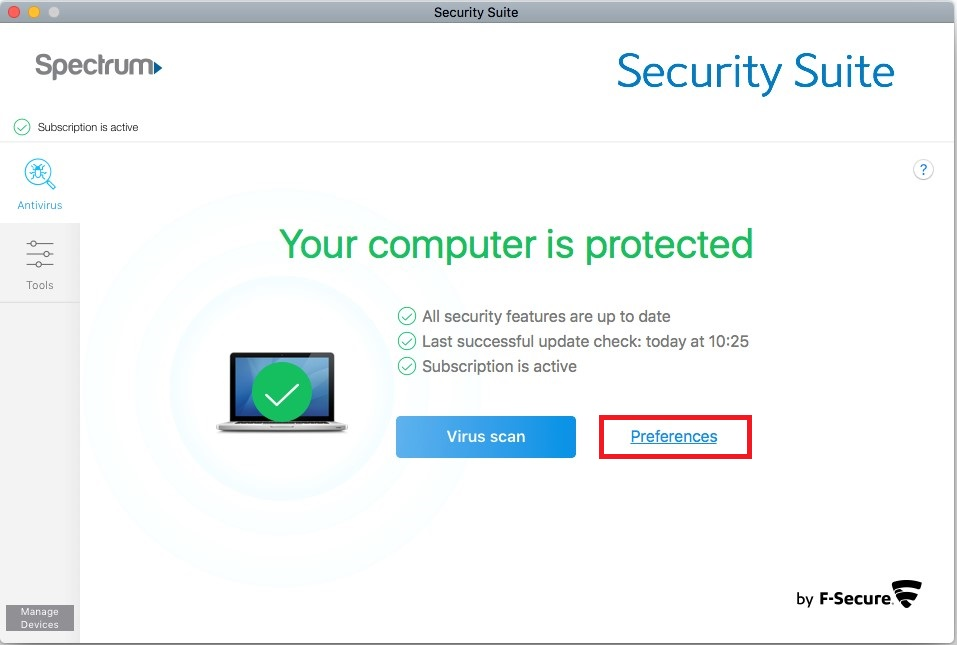 Security Suite Mac preferences