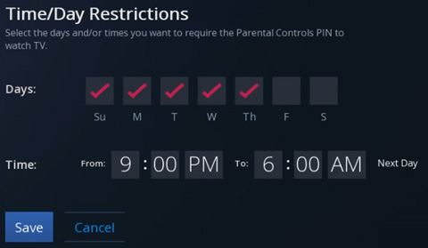 Time/Day Restrictions