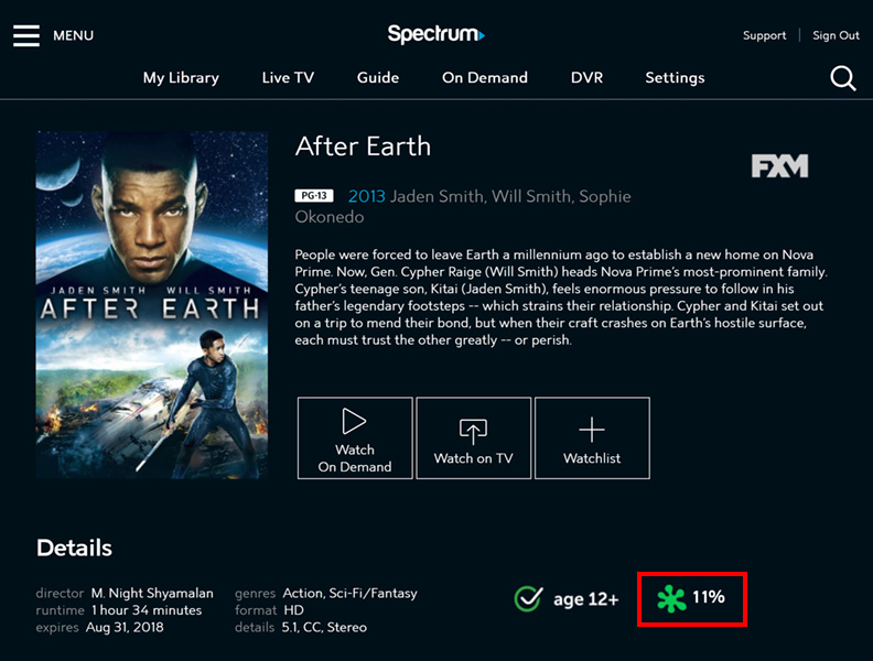 SpectrumTV.com On Demand page highlighting a movie's Rotten Tomatoes rating