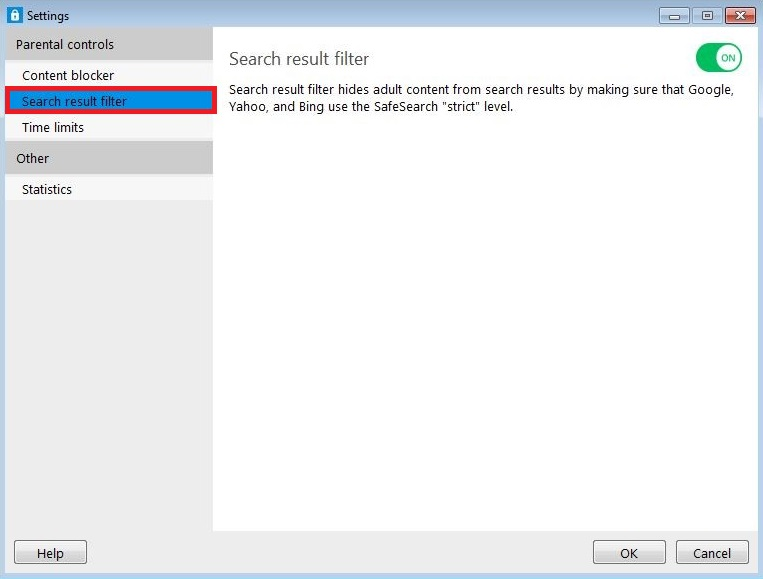 Search Result Filter options for Windows