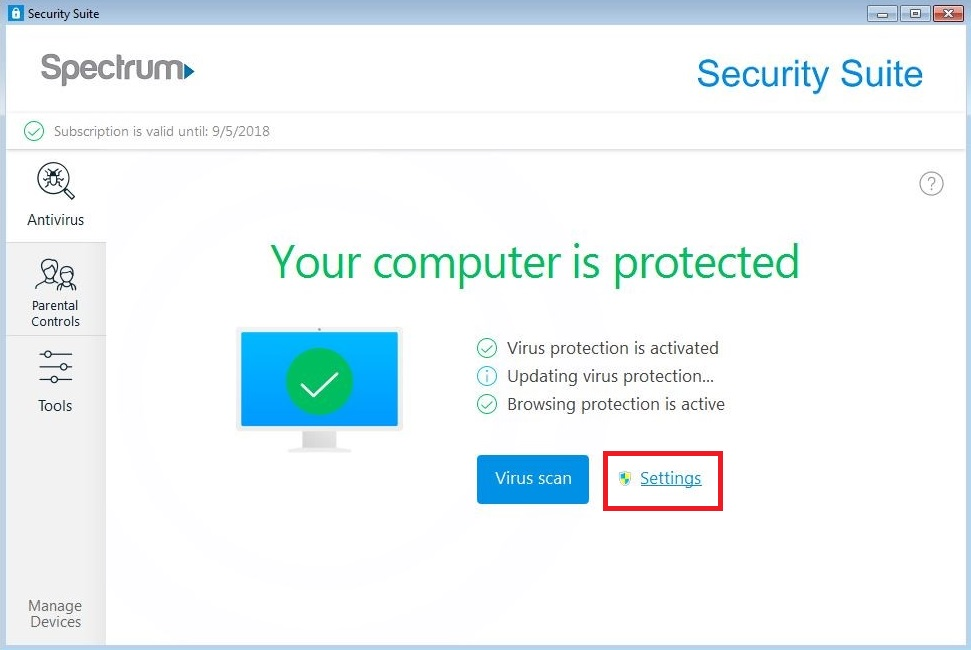 Spectrum Security Suite Settings option