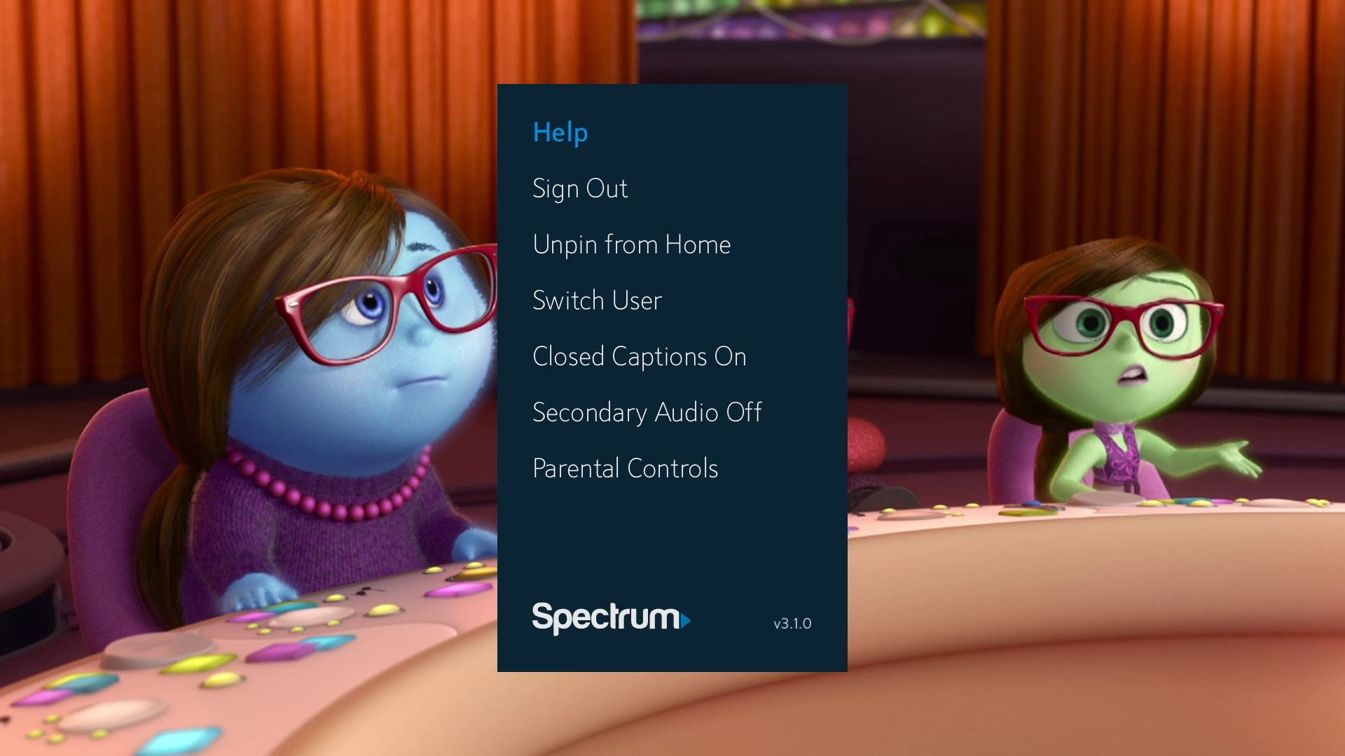Xbox Spectrum TV app settings menu