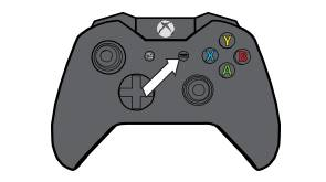 Xbox One controller with arrow pointing to Menu button